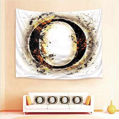 State Plasma Clock (iPrint 1pcs Hanging Tapestry 4pcs Pillow case,Wall Hanging Blanket Beach Towels Picnic Mat Home Decor,Concept Hot Fiery Letter O Plasma Smoky,3D Printed Tapestry Bedroom Living Room)