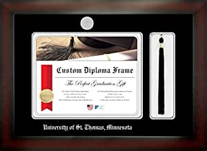 University of St. Thomas 11 x 14 Mahogany Finish Infinity Diploma Frame with Tassel Box by Celebration Frames