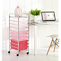 Urban Shop WK656626 10 Tier Storage Cart, Pink