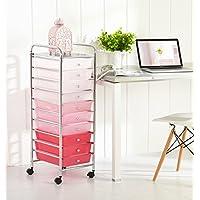 Urban Shop WK656626 10 Tier Storage Cart, Pink