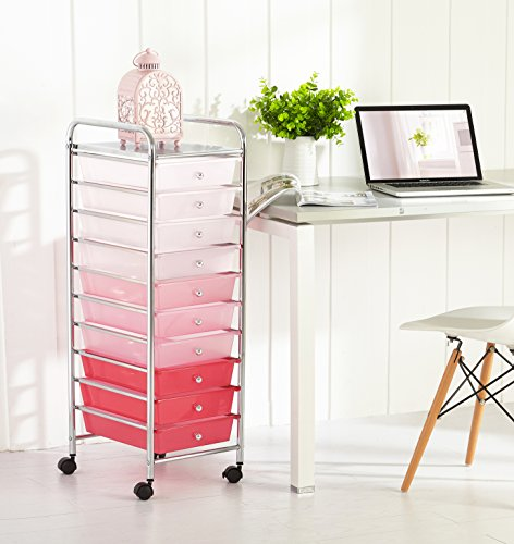 Urban Shop WK656626 10 Tier Storage Cart, Pink 10 Drawer Chest Dresser