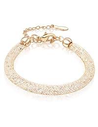 Mytys 18k Rose Gold Plated Mesh Crystal Cubic Zirconia Blange Bracelet