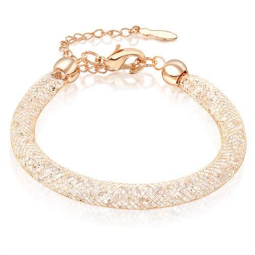 Mytys 18k Rose Gold Plated Mesh Crystal Cubic Zirconia Blange Bracelet B257