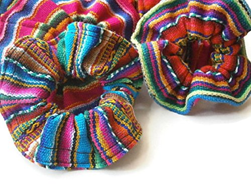6 Scrunchies Hair Tie Pony Tail Six Pack Assorted Peru Cotton Fair Trade Lot Wholesale 255 ()