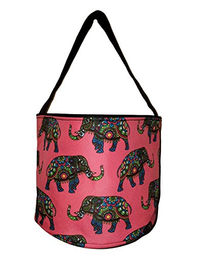 Custom Halloween Tote Bags (Personalized Childrens Fabric Bucket Tote Bag - Toys- Easter (Blank, Elephant - Coral))