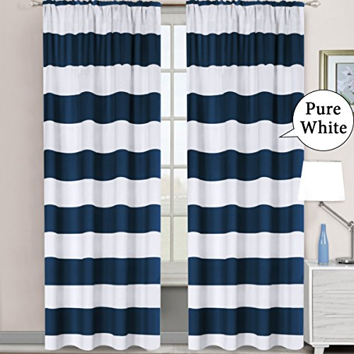 H.VERSAILTEX Window Treatment Thermal Insulated Rod Pocket Room Darkening Striped Curtains Drapes for Bedroom/Living Room (2 Panels, 52 by 96, Nautical (Blue White Pattern)