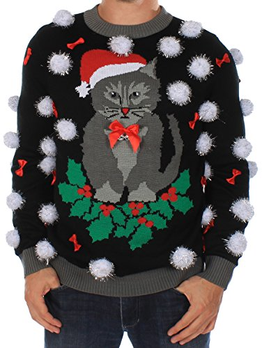 Tipsy Elves Mens Ugly Christmas Sweater - Black Cat Sweater with Bells