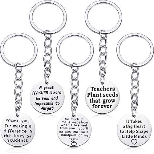 5 Pieces Teacher Gift Key Ring Heart Shaped Charm Jewelry Keychain Stainless Steel Thoughtful Gift Key Chain for Women Teachers (Style C)
