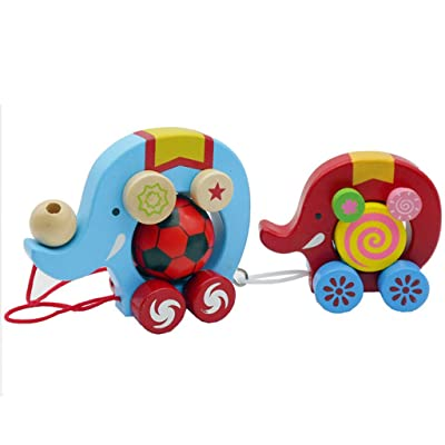 Thinktoo Elephant Wooden Push and Pull Toy - Beautiful Elephant Pulling Small Elephant for Baby, Kiddie, Kids, Adult, Infant, Toddlers Sports Outdoor Play Toys: Arts, Crafts & Sewing