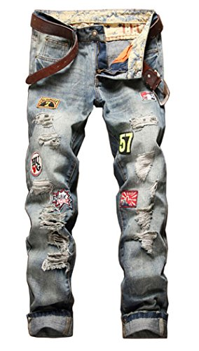 Embroidered Slim Cut Jeans (Men's Distressed Ripped Slim Jeans A777 34)