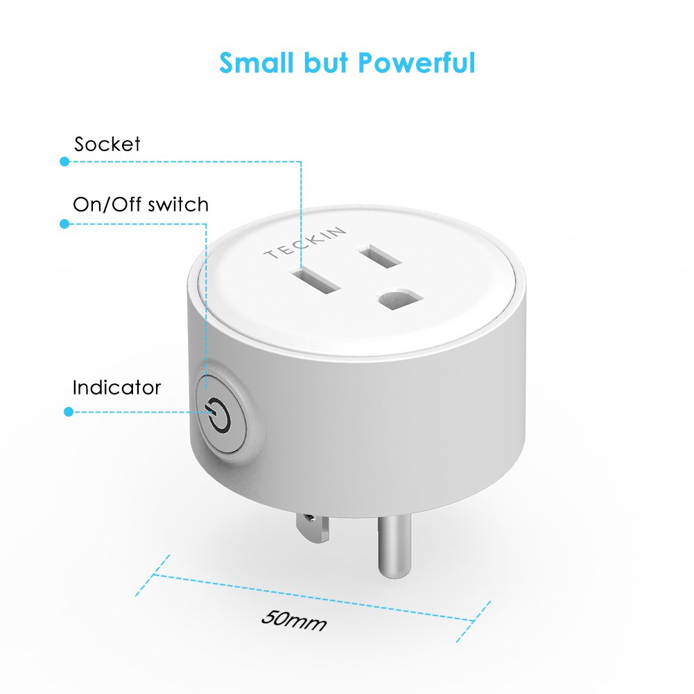 Smart Plug Mini Outlet Compatible with  Alexa and Google Assistant, TECKIN Wifi Enabled Remote Control Smart Socket with Timer Function, No Hub Required,White, 1 pack