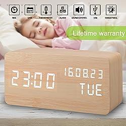 Alarm Clock, Wood Alarm Clock Digital Clocks for Bedroom Beside LED Wooden Clock Small Desk Alarm Clock Time Date Week Temperature Thermometer Travel Clock 3 Levels Brightness 3 Alarms Voice Control