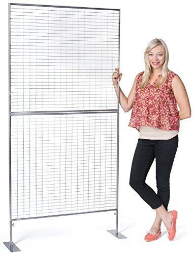 Displays2go Gridwall Panel for Art Work, Double Sided, Iron Build - Silver Finish (AD3PNL) by Displays2go (Image #6)