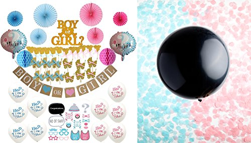 68-Pc Deluxe Baby Gender Reveal Party Supplies+Decorations: Gender Reveal Balloon w/Pink&Blue Confetti + Banner + Pink&Blue Fans&Honeycomb Balls + Photo Booth Props + Cake&Cupcake Toppers + Balloons by Bash+Boogie
