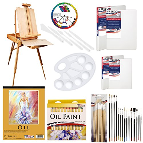 "U.S. Art Supply 62 Piece Oil Artist Painting Kit with Wood French Easel, 24 Oil Paint Colors, 2-16""x20"" & 2-11""x14"" Stretched Canvases, 25 - Paint Brushes, Palette Knife Set, 10-Well Palette"