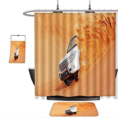 QINYAN-Home Print Bathroom Rugs Shower Curtain Desert Decor SUV Truck Pick Up Big Car with Huge Wheels Driving Through The Sand Hills White Yellow. Rug& Shower Curtain Bath Towel(Ten Sizes Select)