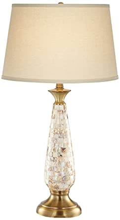 Berach Mother Of Pearl Brass Glass Table Lamp Amazon Com