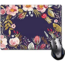 MSD Mouse Pad Unique Custom Printed Mousepad Vintage Hand Drawn Floral Wreath Stitched Edge Non-Slip Rubber 9.8x7.9-Inch