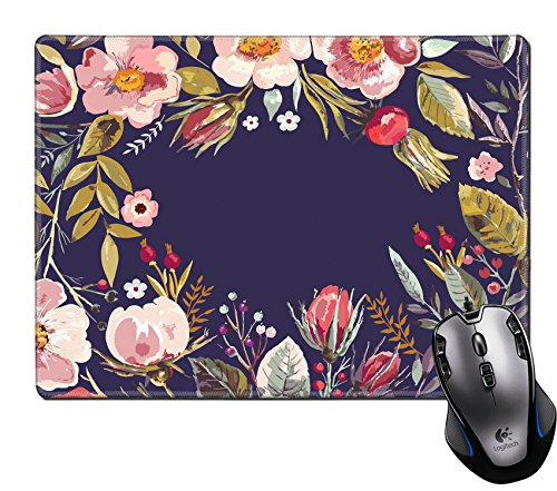 (MSD Mouse Pad Unique Custom Printed Mousepad Vintage Hand Drawn Floral Wreath Stitched Edge Non-Slip Rubber 9.8x7.9-Inch)