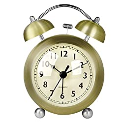 HENSE Classical Retro Twin Bell Mute Silent Quartz Movement Non Ticking Sweep Second Hand Bedside Desk Analog Alarm Clock with Nightlight and Loud Alarm HA01 (Green copper)