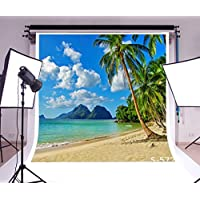 LFEEY Vinyl Thin Backdrop 2.5(W)x2.5(H)m Photography Background Scenic Theme Sea Beach Bule Sky Coconut Palm Trees Scene Realistic Effect Attractive 8x8ft Backdrop For Photo Studio