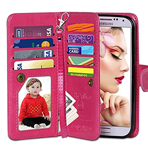 Galaxy S4 Case, Vofolen Flip Cover Galaxy S4 Wallet Case Folio PU Leather Holster Protective Shell Magnetic Removable Slim Back Cover Card Holder Slots Wrist Strap for Galaxy S4 (Galaxy S4 Cases With Card Holder)