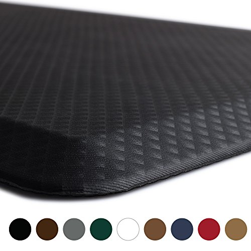 "Kangaroo Brands Original 3/4"" Anti Fatigue Comfort Standing Mat Kitchen Rug, Phthalate Free, Non-Toxic, Waterproof, Ergonomically Engineered Floor Pad, Rugs Office Stand up Desk, 32x20 (Black)"