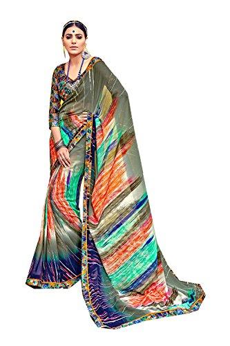 Women Traditional Sari Designer Facioun Party Wedding Olive 4 for Indian Da Sarees Wear wzqaSwI