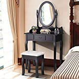 Mecor Vanity Table Set with Drawer/Oval Mirror Makeup Dressing Table and Cushioned Stool,Black