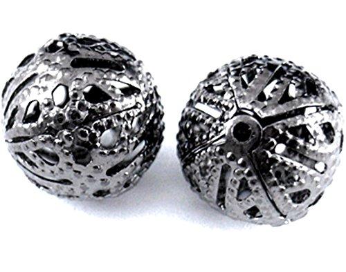 Twenty (20) Brass Filigree Beads, Round, Gunmetal Black, 8mm