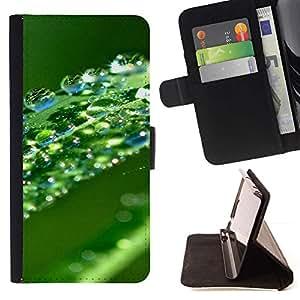 Momo Phone Case / Flip Funda de Cuero Case Cover - Verde Agua Hoja Gota - Samsung ALPHA G850