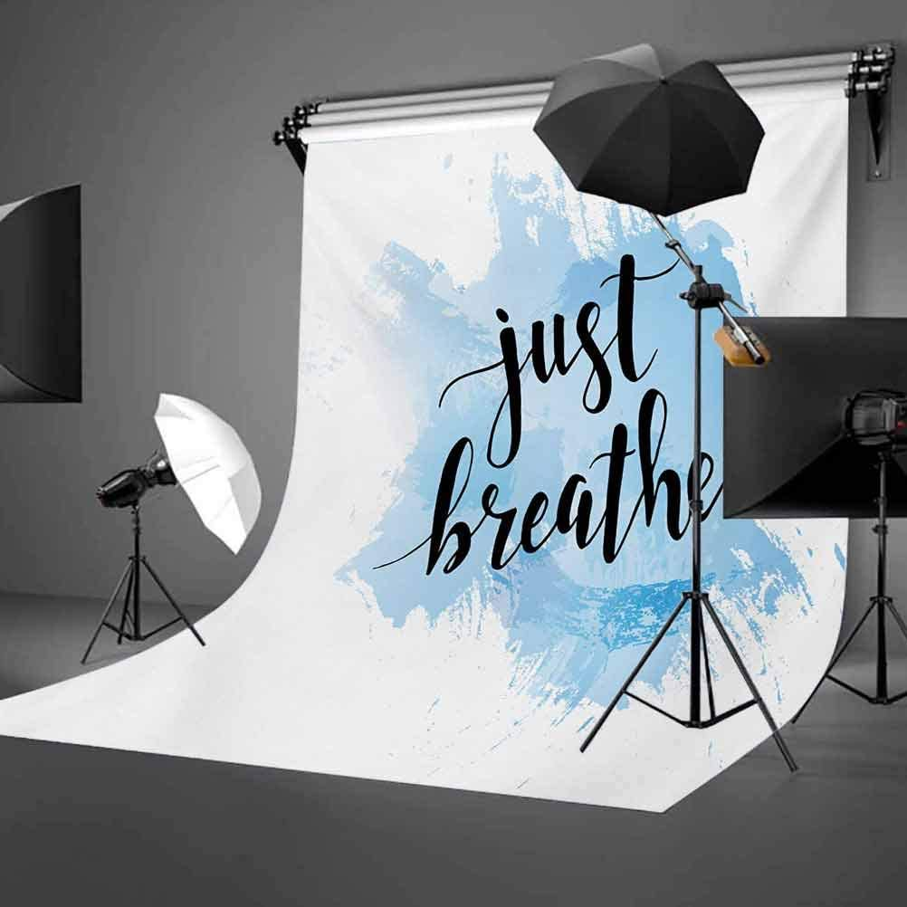 Just Breathe 10x15 FT Photo Backdrops,Hand Writing Style Phrase on Pale Blue Grungy Brushstrokes Backdrop Background for Baby Shower Birthday Wedding Bridal Shower Party Decoration Photo Studio