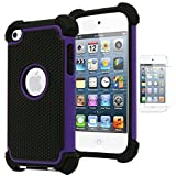 Bastex Hybrid Armor Case for Apple iPod Touch 4, 4th Generation - Purple+BlackINCLUDES SCREEN PROTECTOR