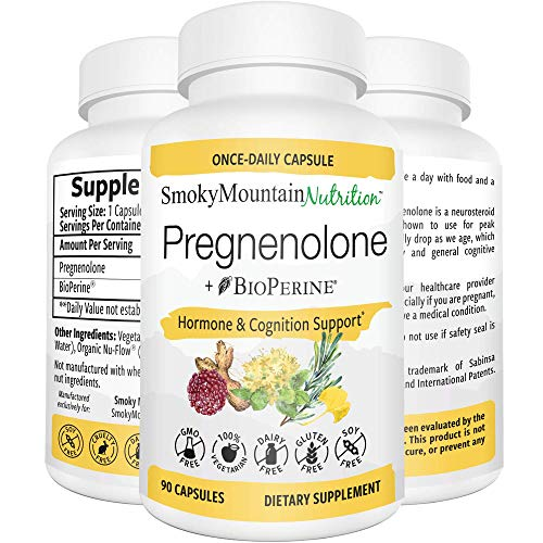 Pregnenolone 50mg 90 Capsules (3 Month Supply) Menopause & PMS Supplement. Supports Memory, Mood, Weight Loss, Hormone Balance, Healthy Aging and Immune System*. Soy-Free, Vegetarian & Non-GMO