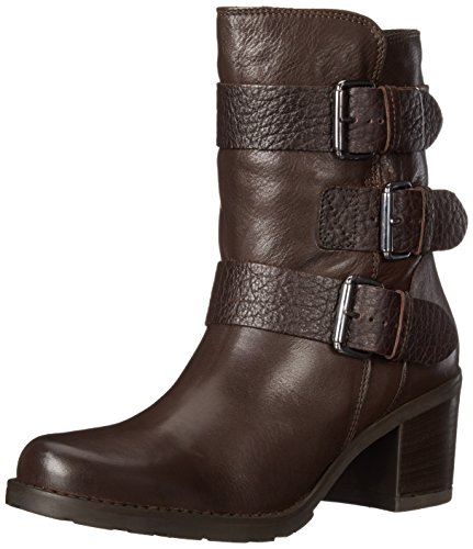 Clarks Women's Fernwood Lake Motorcycle Boot, Dark Brown Leather, 9 M (Brown Calf Footwear)