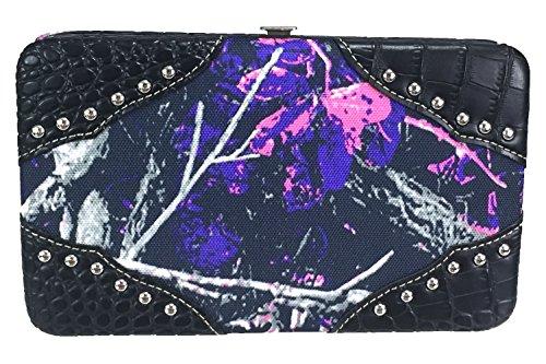 ZZFAB Rhinestone Studded Moon Shine Camo Wallet Muddy Girl Wallet (pink)