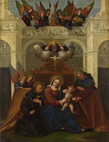 The High Quality Polyster Canvas Of Oil Painting 'Lodovico Mazzolino The Holy Family With Saint Nicholas Of Tolentino ' ,size: 10 X 13 Inch / 25 X 33 Cm ,this High Quality Art Decorative Canvas Prints Is Fit For Bathroom Artwork And Home Decor And Gifts