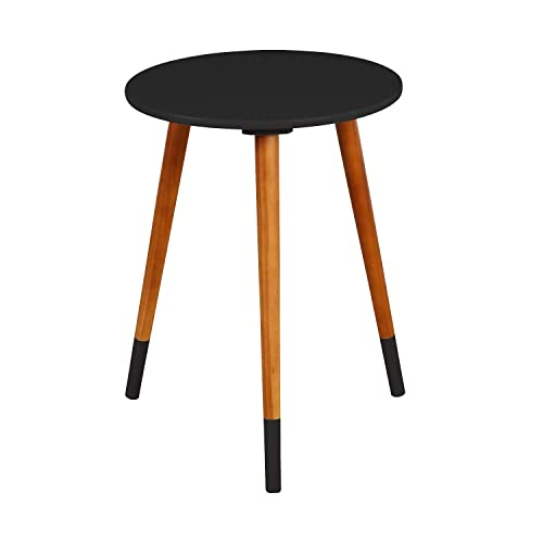 Target Marketing Systems Livia Collection Ultra Modern Round End Table With Splayed Leg Finish, Black Wood