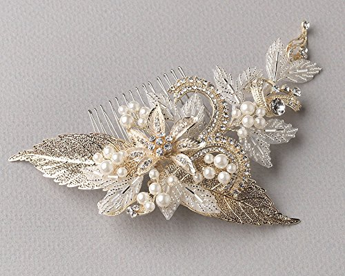 USABride Gold-Plated Leaf and Simulated Pearl Hair Accessory, Bridal Hair Comb 2220-G (Leaf Wispy)