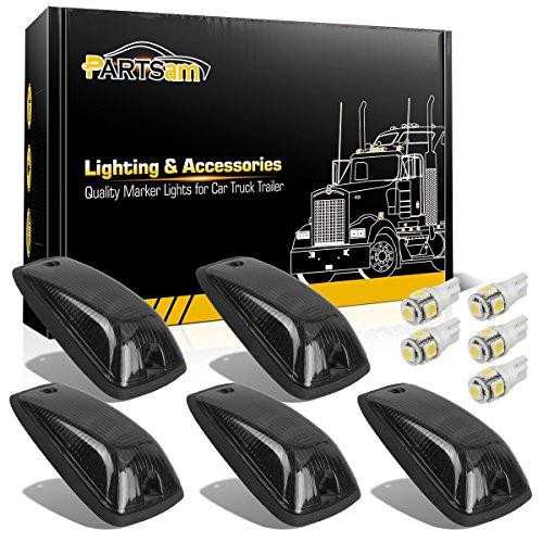 Partsam 5X Smoke Cab Marker Light Roof Light 264159BK + 5X White T10 LED Lights + Base Assembly Compatible with Chevy/GMC C1500 C2500 C3500 K1500 K2500 K3500 1988-2002 Pickup Trucks