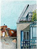 "Original Pastel drawing ""Berlin's Roofs 6"" by Ave Igor, Pastel on Ingres pastel paper, Signed, Authentic, Unique, Original Berlin's HAND-CRAFTED Art, Buy directly from independent Artist 