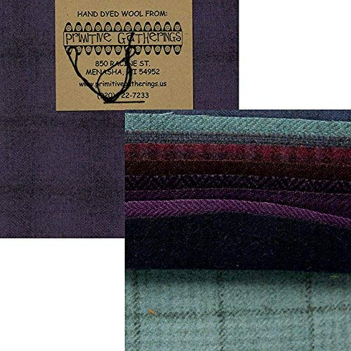 Primitive Gatherings Hand Dyed Wool Purples Charm Pack 10 5-inch Squares PRI 6003