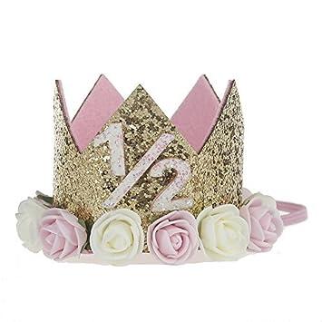Missley Corona Rosa Flor Corona de Oro Corona de cumpleaños Princesa bebés Corona Cabeza Accesorios de Pelo (1/2)