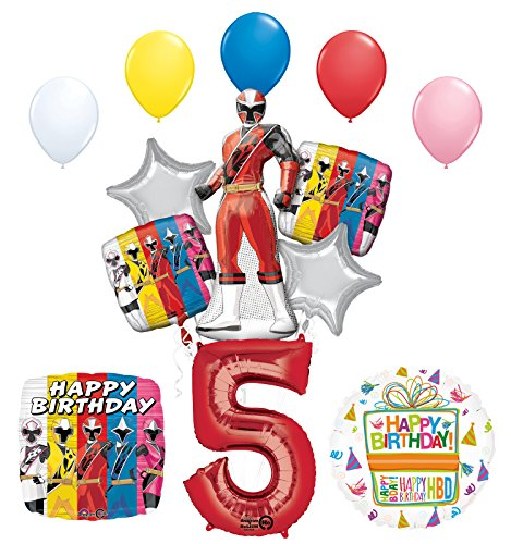 The Ultimate Power Rangers Ninja Steel 5th Birthday Party Supplies and Balloon Decorations -