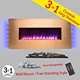 Golden Vantage 36'' Gold Color finish Wall Mount Freestanding Convertible 22 Setting 3-in-1 Fuel Bed Electric Fireplace Heater Stove