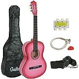 "ZENY 38"" Pink Beginner Acoustic Guitar Starter Package Kit Student KidGuitar Right Handed with Gig Bag, Shoulder Strap, Pick, 6 Strings,Tuner, Pitch Pipe"