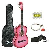 ZENY 38'' Pink Beginner Acoustic Guitar Starter Package Kit Student KidGuitar Right Handed with Gig Bag, Shoulder Strap, Pick, 6 Strings,Tuner, Pitch Pipe