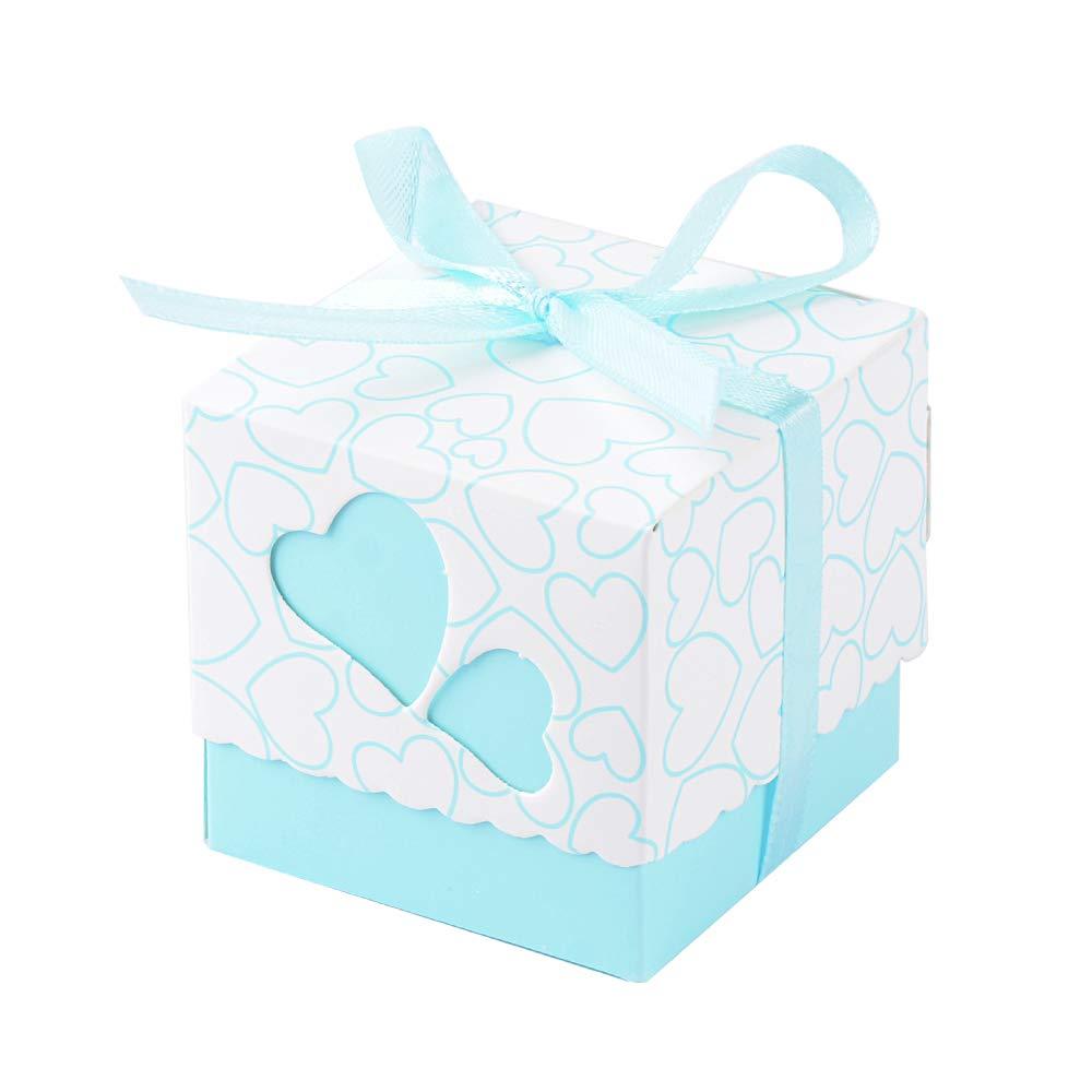 50pcs Boîte à Dragées Bonbonnières Cœur Rose avec Ruban pour Mariage Baptême Naissance Anniversaire Fête FLOFIA