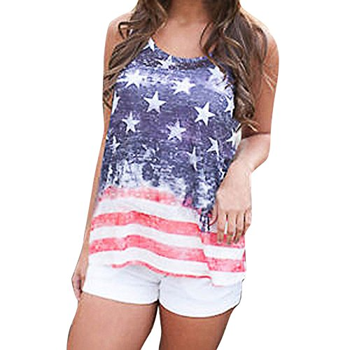 Women's Tank Tops,LuluZanm Sale! Ladies American Flag Print Sleeveless Vest Fashion Patriotic Casual Cami Loose Blouse (Multi (Short 4 cm), L)