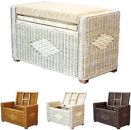 Bruno Handmade 26 Inch Rattan Wicker Chest Storage Trunk Organizer Ottoman W Cushion White Wash